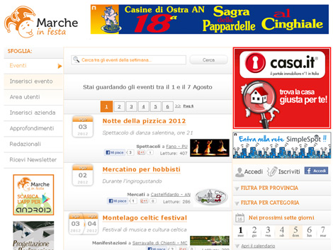 Marcheinfesta.it - schermata di esempio con banner-evento