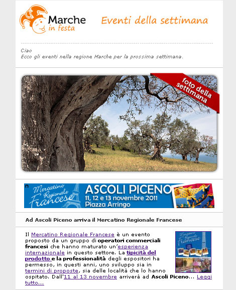 Marcheinfesta.it - newsletter di esempio con evento in evidenza